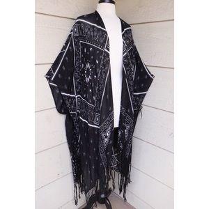 Bandana Print Fringe Kimono Wrap